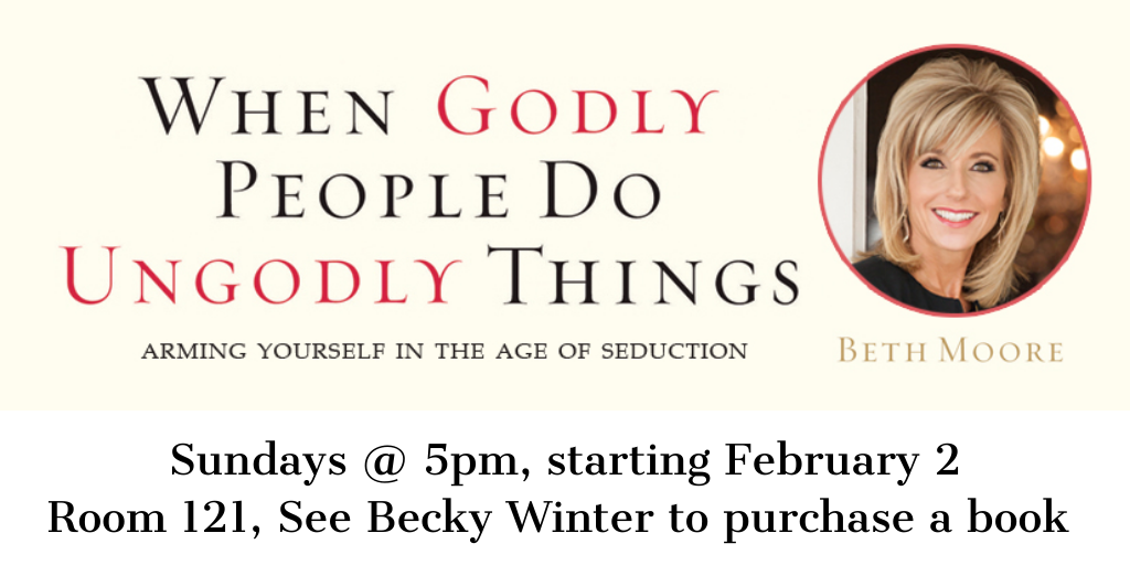 Sundays, 5pm Room 121, See Becky Winter to purchase a book