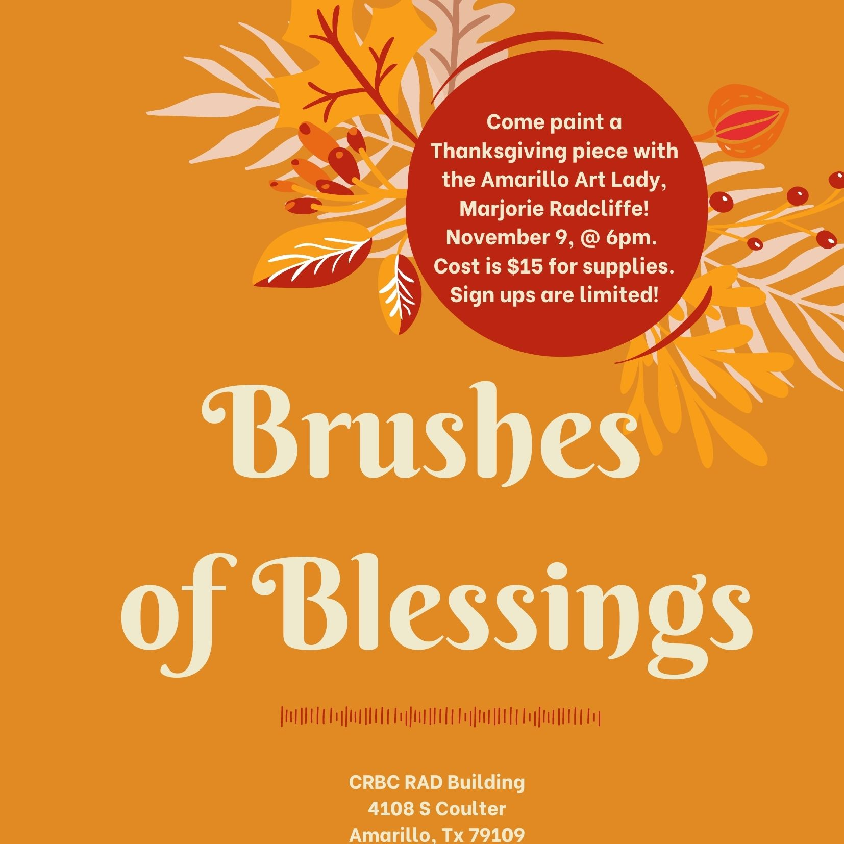Orange Floral Thanksgiving Invitation